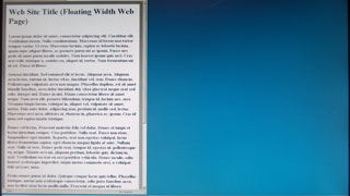 floating width web page displayed in a wide-screen monitor window